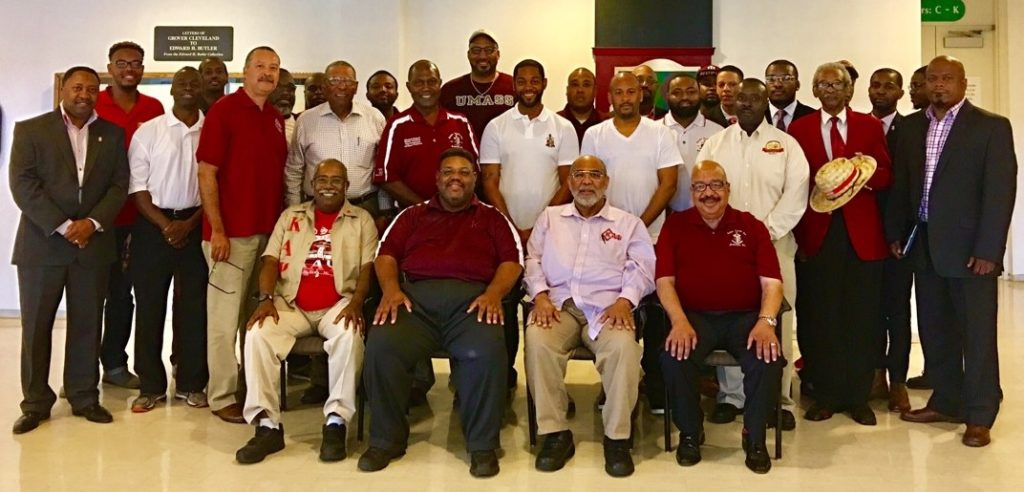 Western New York Town Hall Group Picture. Front Row Left to Right: 50 Year Member Lionel Davis, Northern Province Polemarch Kevin D. Kyles, 50 Year Member William Bobo, and 19th Northern Province Polemarch and Past Grand Board of Director E. Ken Glass, Jr.