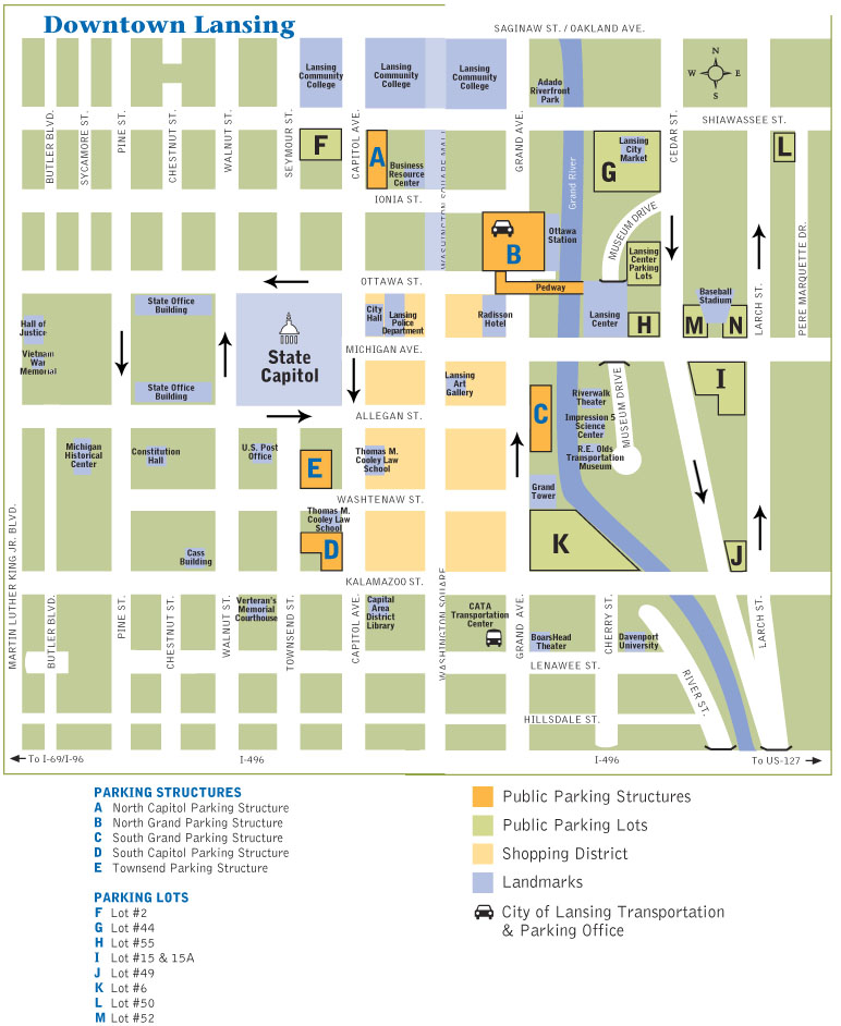Map Downtown Lansing